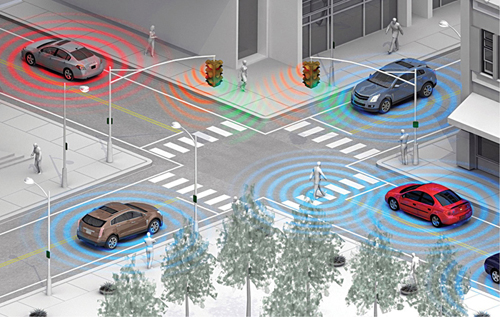 Fig. 5: Vehicle-to-vehicle communication rendering (Source: wot.motortrend.com)