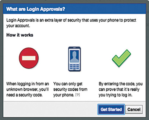 Fig. 13: Two-step authentication for a Facebook account (Credit: Facebook)