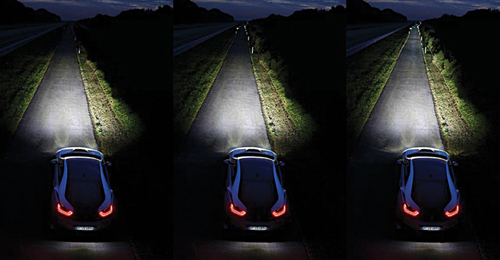 Fig. 6: BMW i8's new headlights, from LED low beams (left), shining 100m ahead (middle) to LED high beams(right) (Source: http://ecomento.com)
