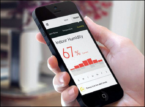 The Canary device can also learn and track a home's average temperature and humidity levels. Any changes in trends can be monitored using the smartphone app (Courtesy: https://www.indiegogo.com)