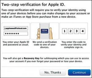 Fig. 10: Two-step verification for an Apple ID (Credit: Apple)