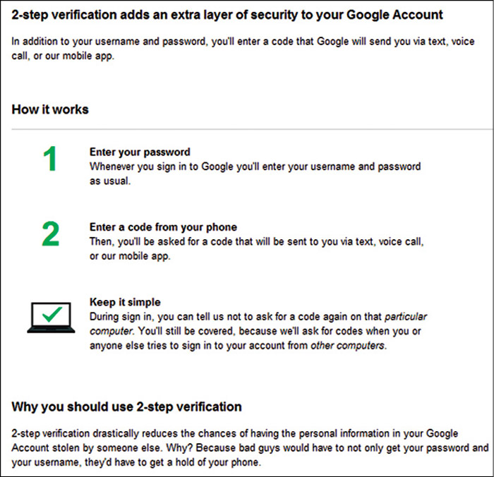 Fig. 11.3: Step 2 in two-step verification for a Google account (Credit: Google/Gmail)