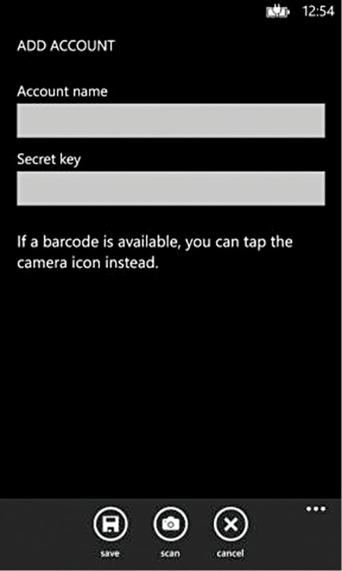 Fig. 14.6: Logging into the account with a secret key (Credit: Microsoft)