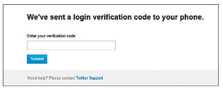 Fig. 12.2: Twitter sends a one-time password to the user's mobile number (Credit: Twitter)