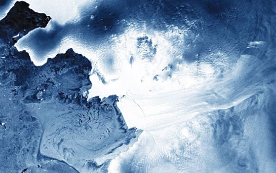 Using data from satellites, scientists found that from 2007 to 2008, six cubic kilometres of water drained from a lake in Antarctica—the largest drainage ever recorded. The amount of water is about one-tenth of the melting that occurs beneath the Antarctic surface each year (Courtesy: Planet Labs)