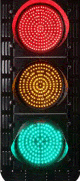 Figure1. LED-based traffic light utilising three clusters of red, amber and green LEDs. Each LED is rated at ¼ Watt maximum power dissipation.