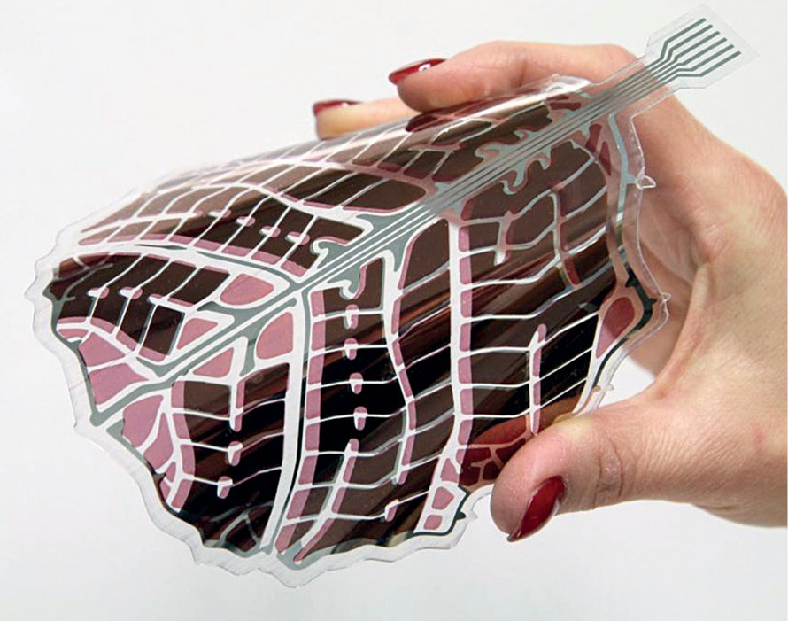 Leaf-shaped, decorative, organic solar panel developed by VTT, Finland. Each leaf has an active surface of 0.0144m2 and includes connections and a decorative part