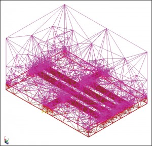 Fig. 7: Typical tetrahedral mesh used in FEM simulation(Courtesy: Agilent Technologies)