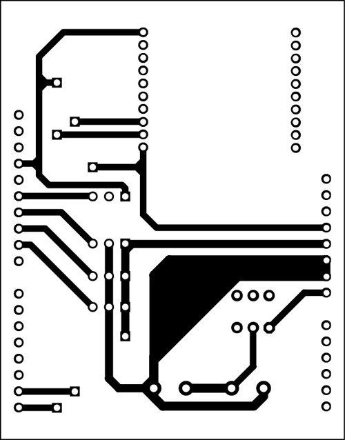 Fig. 9: An actual-size PCB pattern for XBee-controlled aircraft (receiver side)