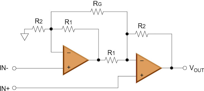 Figure 2: Two Op Amp Instrumentation Amplifier Circuit