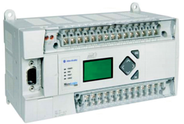 Fig. 3: MicroLogix 1400 PLC (Model 1766-L32BWA features 12 digital fast 24V DC inputs, eight digital normal 24V DC inputs, 12 relay outputs, RS232 ports, 110V/240V AC power)