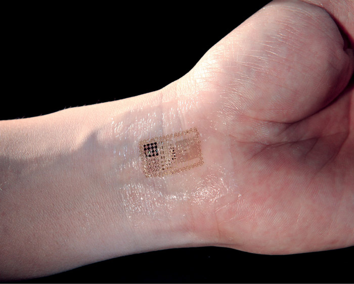 Electronic patch which bends, wrinkles and stretches like skin, can contain electronic components for sensing, communication and relaying information from the body to a machine (Image courtesy: www.smartplanet.com)