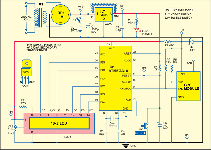 Fig. 2: Circuit of standalone GPS receiver with LCD display