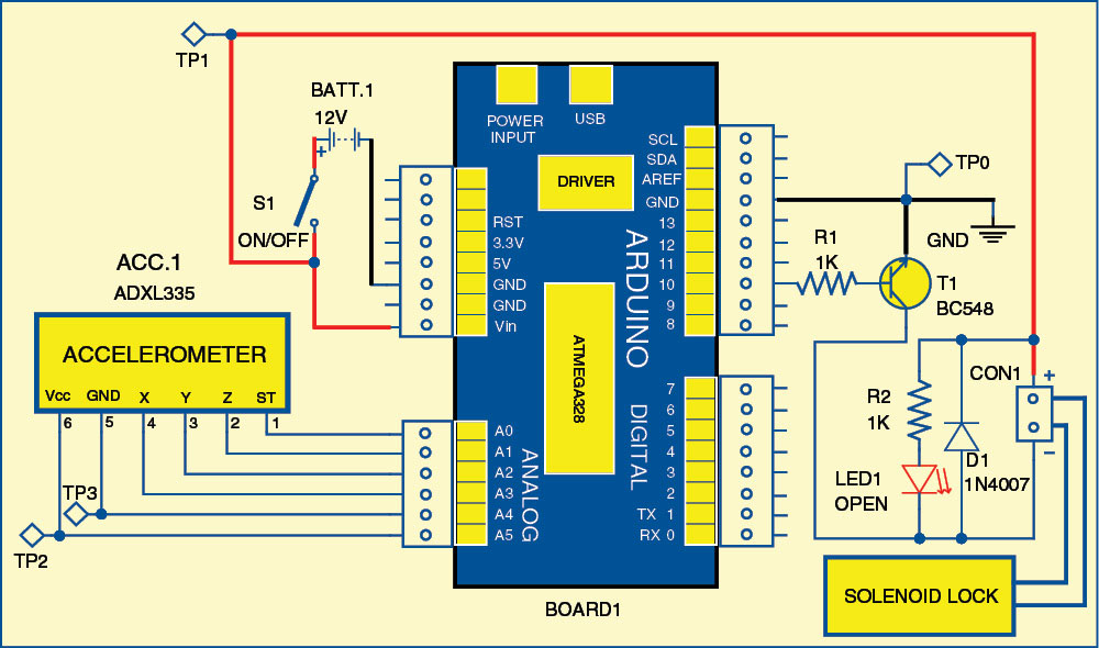 Fig. 1: Circuit diagram of sequential tilt-motion lock
