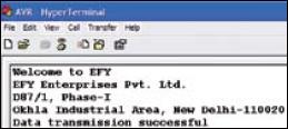 Fig.8: Message on HyPerterminal screen
