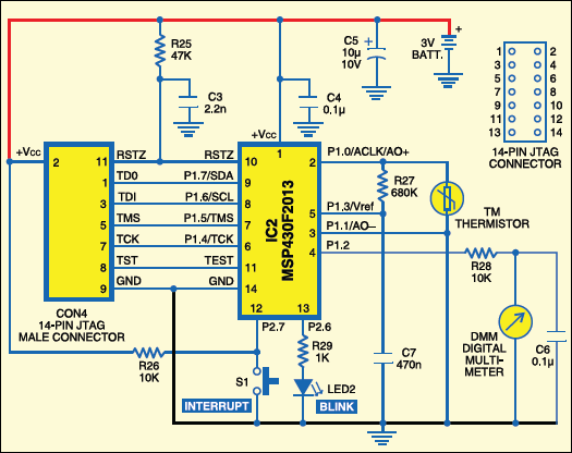 Fig.10: Circuit of blinking LED cum digital thermometer
