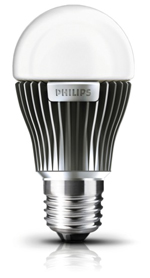 Figure4. A 12 Watt LED bulb from Philips. Notice the ribbed heat sink structure for dissipating the heat generated by LEDs. Courtesy: Philips Corporation.