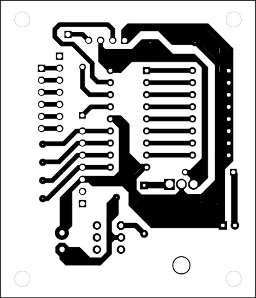 Fig. 5: An actual-size, single-side PCB for the wireless steering