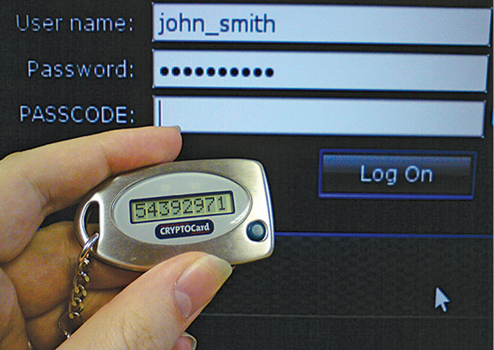 Fig. 8: User using CRYPTOCard (disconnected token) during authentication