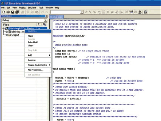 Fig.12: Screenshot of the BlinkingLED project