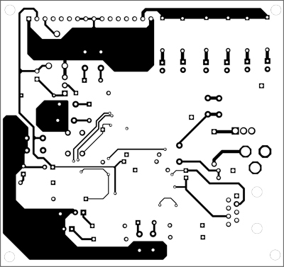 Fig. 6: First layer of the actual-size, double-side PCB