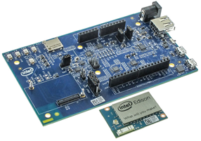 Figure 3: Intel's Edison Boards for Arduino are for Arduino users. These are similar to Arduino Yun (Arduino Sketch, Linux, WiFi & BT) and is compatible with Arduino Uno. (Image courtesy: Mouser Electronics)