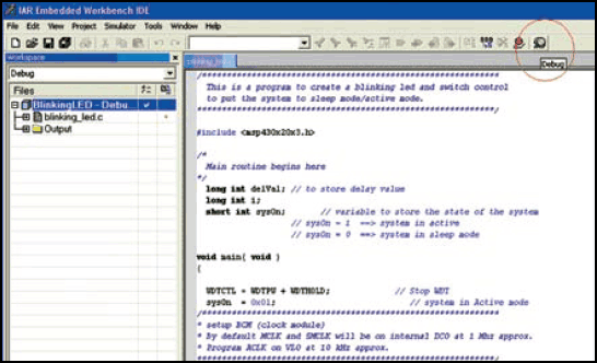 Fig.13: Screenshot of the debug icon used for debuggingand downloading the code into target board