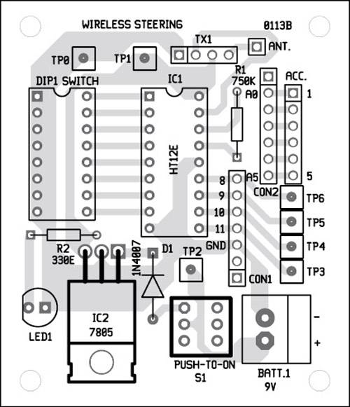Fig. 6: Component layout for the PCB in Fig. 5
