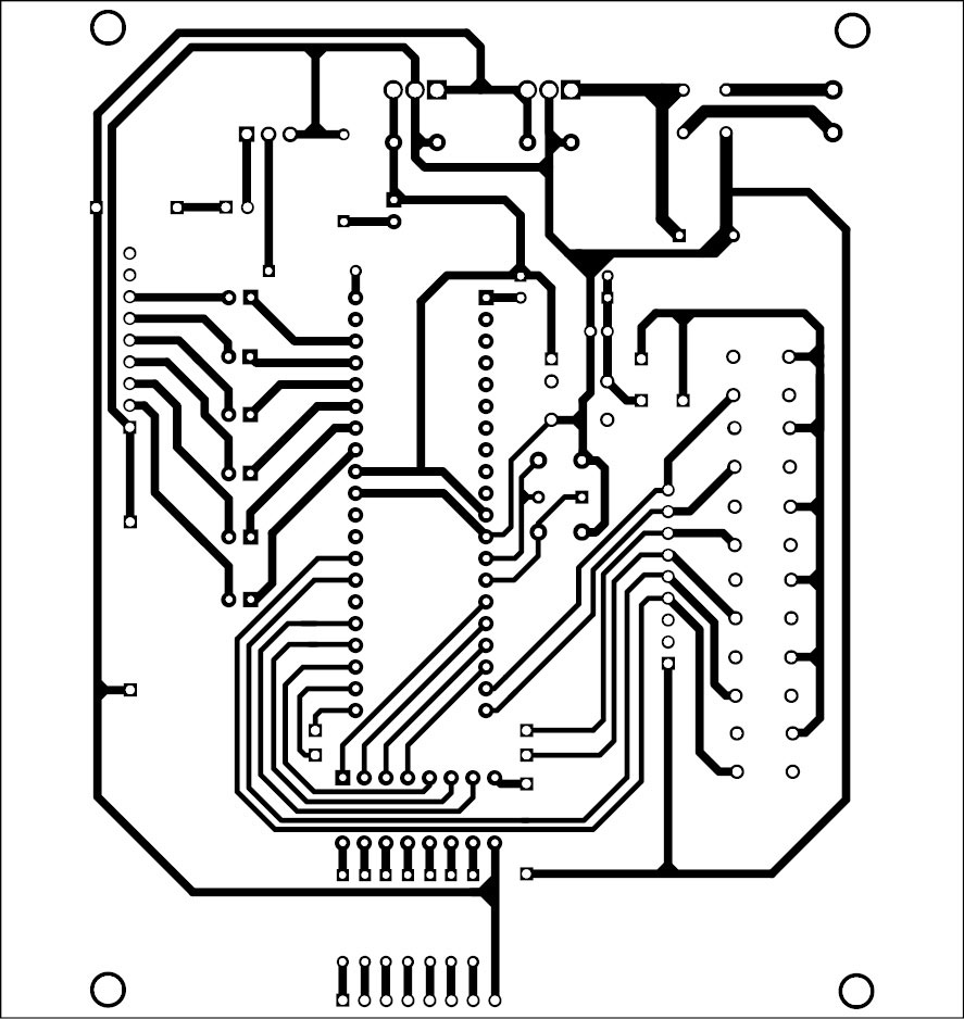 Fig. 4: Actual-size PCB layout for the quiz controller