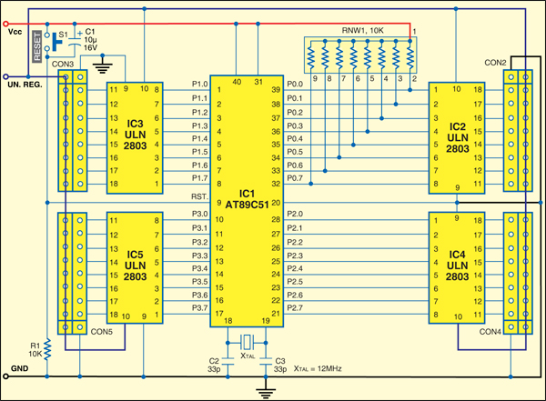 Fig. 1: Circuit for microcontroller-based dynamic display using LED strip