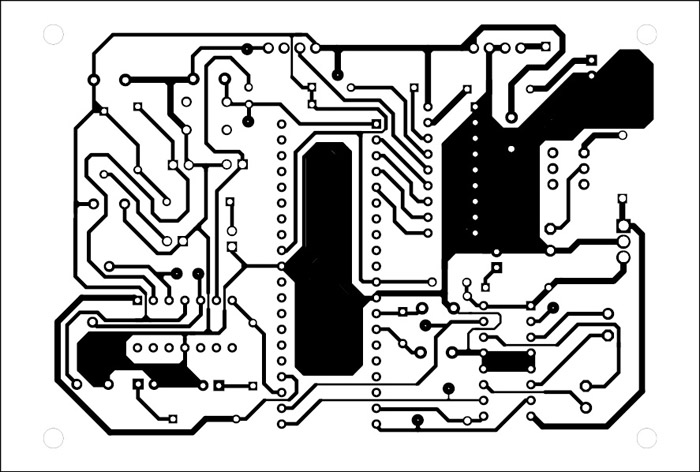 Fig. 6: Actual-size, single-side PCB for the robot