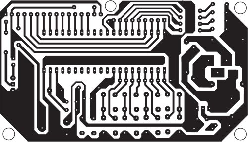 Fig. 4: An actual-size, single-side PCB for the microcontroller-based Morse code encoder