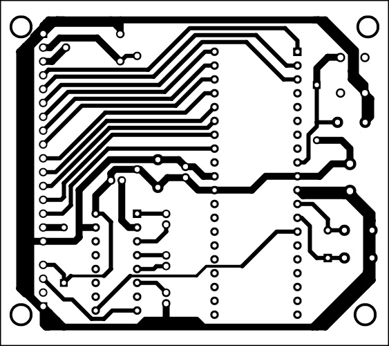 Fig. 4: Actual-size PCB pattern of the GPS receiver