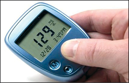 Fig. 2: Glucometer that uses enzyme glucose oxidase to break blood glucose down