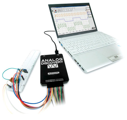 Fig. 2: An oscilloscope that shows signal on a computer's screen