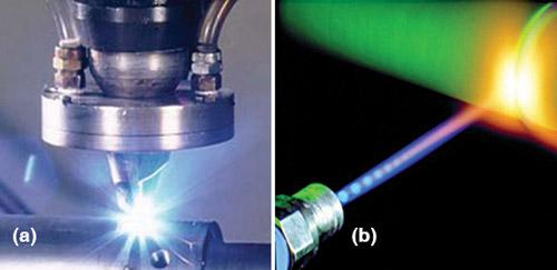 Fig. 12: (a) Laser cutting, (b) laser welding