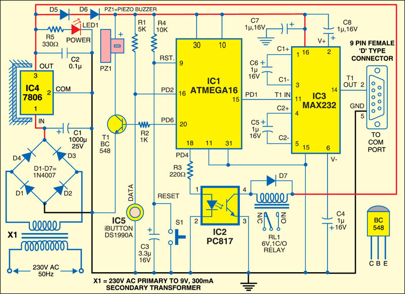 Fig.4: Circuit of the secure digital access system using iButton
