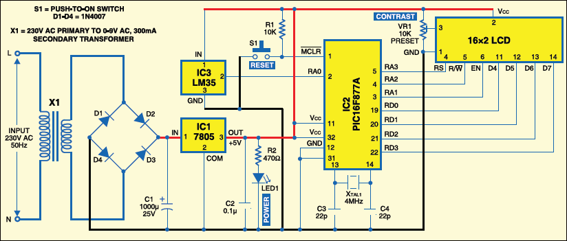 Fig.2: Circuit of PIC16F877A-based temperaturemonitoring system