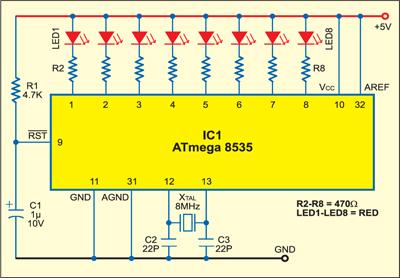 Fig. 2: A simple LED display circuit using ATmega8535
