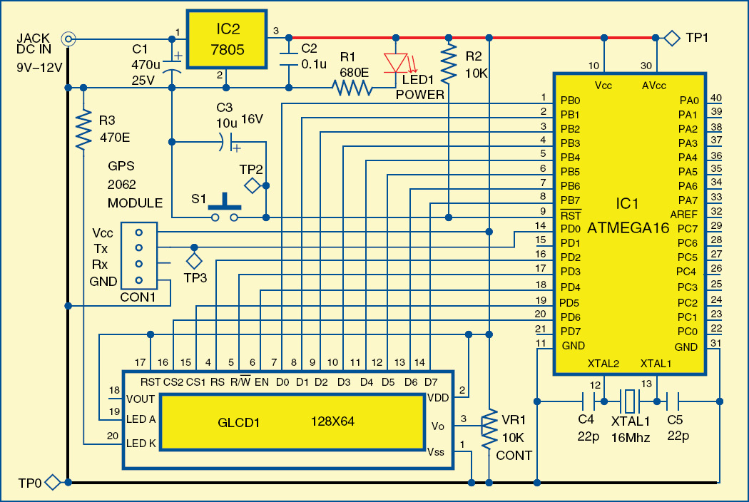 Fig. 2: Circuit of GPS Navigator
