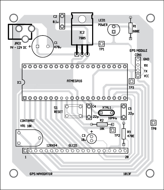 Fig. 4: Component layout for the PCB