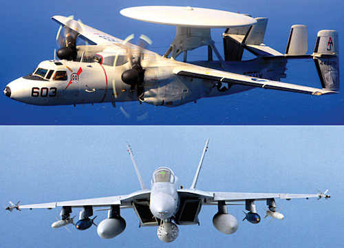 Fig. 2: E-2C Hawkeye, AEW aircraft (top); F-18 combat aircraft in a typical strike load out (centre to wingtip): external fuel tanks, bombs, anti-radiation missiles and short-range air-to-air missiles (bottom)