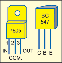 Fig. 3: Pin details of 7805 and BC547