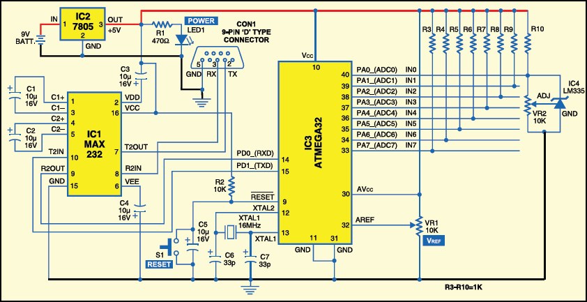 Fig.3: Circuit for eight-channel data acquisition and logging