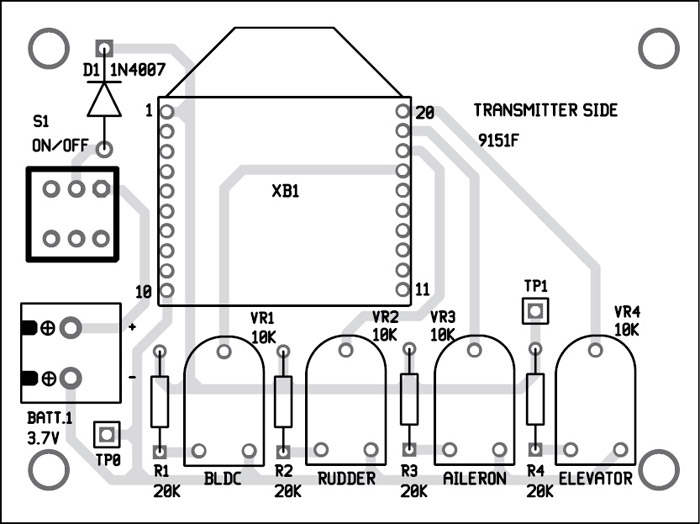 Fig. 8: Component layout for the PCB (transmitter side)