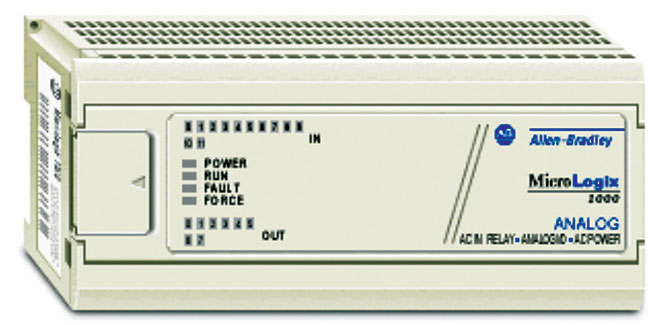 Fig. 2: MicroLogix 1000 PLC (Model 1761-L10BWA features 120V/240V AC power, six 24V DC digital inputs and four relay outputs)