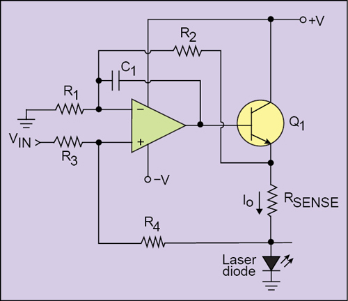 Fig. 4: Constant-current laser diode drive circuit for grounded load