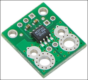 Fig. 5: ACS714 Hall effect-based linear current sensor. This simple carrier board for Allegro's ±30A ACS714 Hall effect-based linear current sensor accepts a bidirectional current input with magnitude up to 30A. The output is an analogue voltage (66 mV/A) centered at 2.5V with a typical error of less than 1.5 per cent