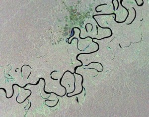 A satellite image of Juruá river in western Brazil (courtesy: Planet Labs)