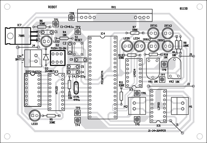 Fig. 8: Component layout for the PCB in Fig. 7